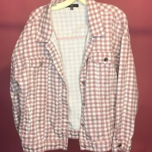 Pink/mauve gingham denim jacket missguided